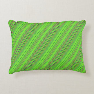 Lime Multicolored Stripes Decorative Cushion