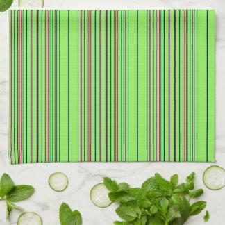 Lime Multicolored Stripes Tea Towel