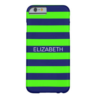 Lime Navy Blue Horiz Preppy Stripe Name Monogram Barely There iPhone 6 Case