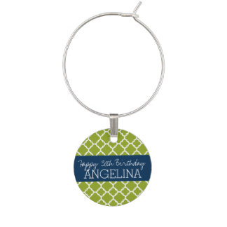 Lime & Navy Quatrefoil Girly Happy Birthday Party Wine Charm