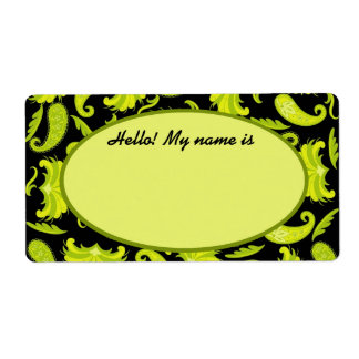 Lime & Olive Green & Black Paisley Name Tag Label Shipping Label