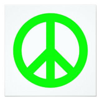 "Lime Peace Symbol 5.25"" Square Invitation Card"