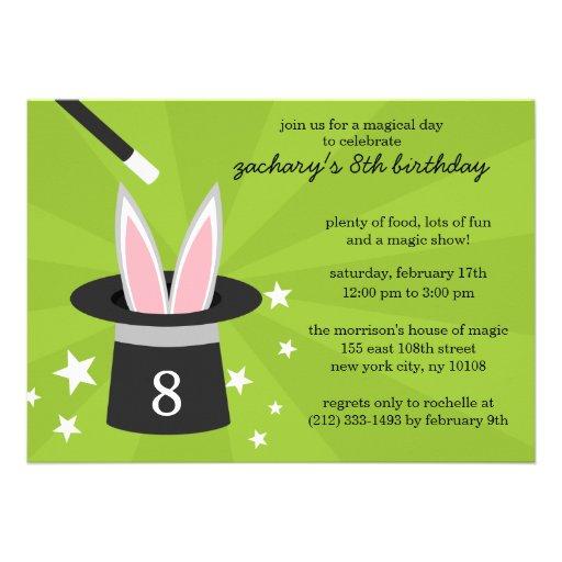 Lime Peek-a-Boo Rabbit Custom Magic Birthday Party Personalized Invites