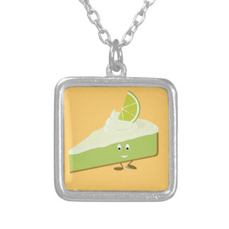 Lime pie slice character personalized necklace