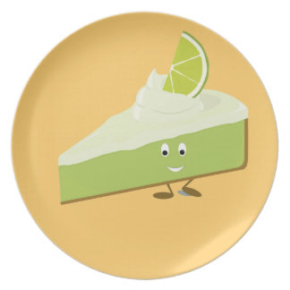 Lime pie slice character plates