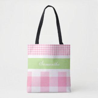 Lime & Pink Summer Gingham Tote Bag