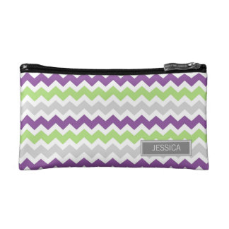 Lime Plum Gray Chevrons Pattern Custom Name Bag Makeup Bag