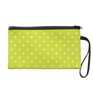 Lime Polka Dot Design Wristlet Clutch