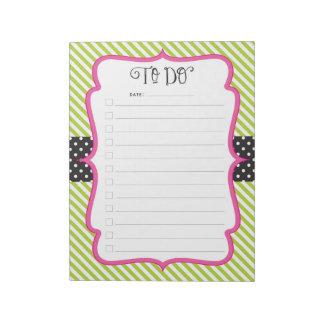 Lime Polka Dot Stripe To-Do Checklist Notepad