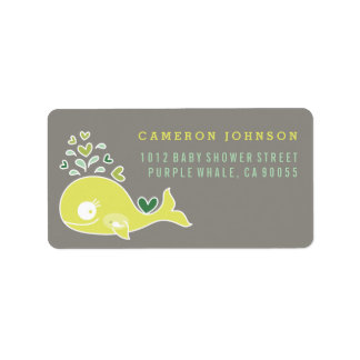 Lime Pregnant Mum Whale Baby Shower Address Labels