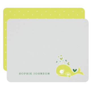 Lime Pregnant Mum Whale Baby Shower Thank You Card