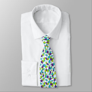 Lime, Purple, Aqua, Blue, White Mosaic Necktie