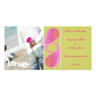 Lime & Raspberry Paisley Save the Date  Your Photo Custom Photo Card