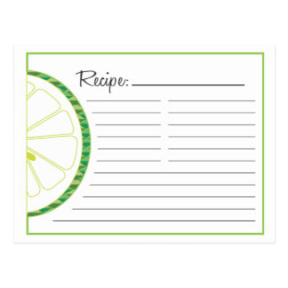 Lime Recipe Card Postcard