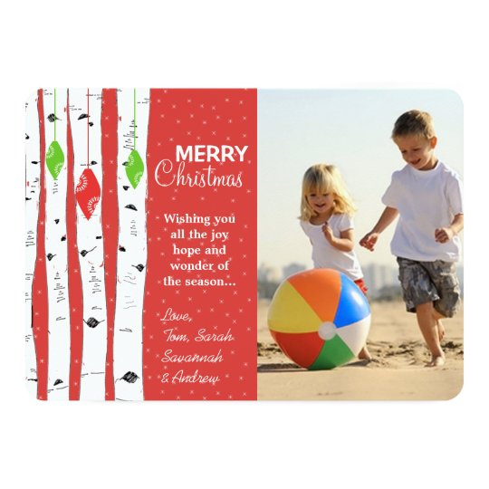 Lime Red Birch Tree Ornament Christmas Photo Card