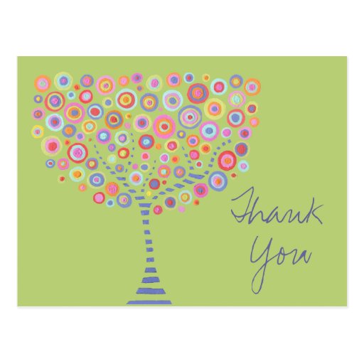 Lime Retro Circle Tree Thank You Baptism Postcard