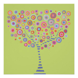 Lime Retro Tree Name Room Wall Poster