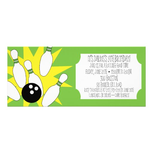Lime Rolling Good Time Bowling Birthday Party Personalized Invitations