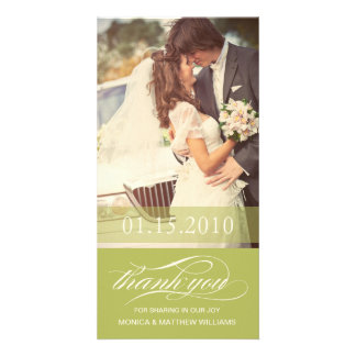LIME SCRIPT THANKS   WEDDING THANK YOU CARD PICTURE CARD