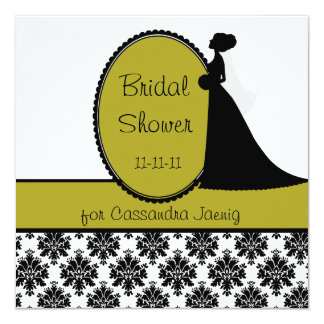 Lime Silhouette Bride Bridal Shower Invitation