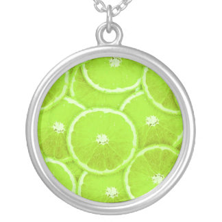 Lime slices round pendant necklace