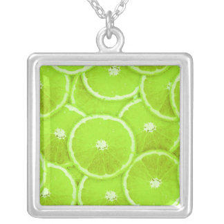 Lime slices square pendant necklace