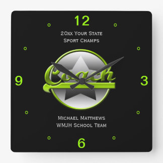 Lime Star Coach Name and School Square Clock
