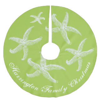 Lime Starfish Tropical Christmas Tree Skirt