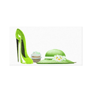 Lime Stiletto, Cupcake and Hat Canvas Print