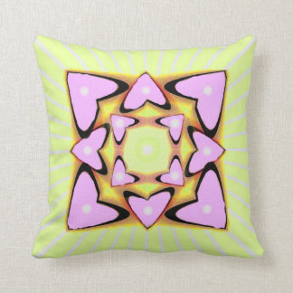 Lime Stripes with Pink Hearts American MoJo Pillow