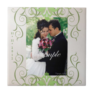 Lime Swirl Champagne Save The Date Tile