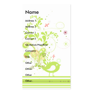 lime swirly bird vector pack of standard business cards