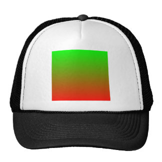 Lime to Candy Apple Red Horizontal Gradient Mesh Hats