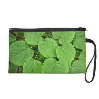 Lime tree leaves wristlet purse
