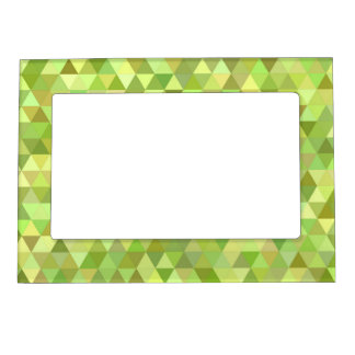Lime triangles magnetic photo frame