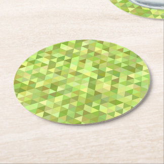 Lime triangles round paper coaster