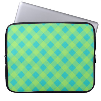 Lime Turquoise Gingham Laptop Sleeve