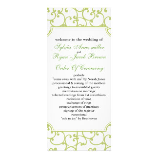 lime Wedding program Personalised Rack Card