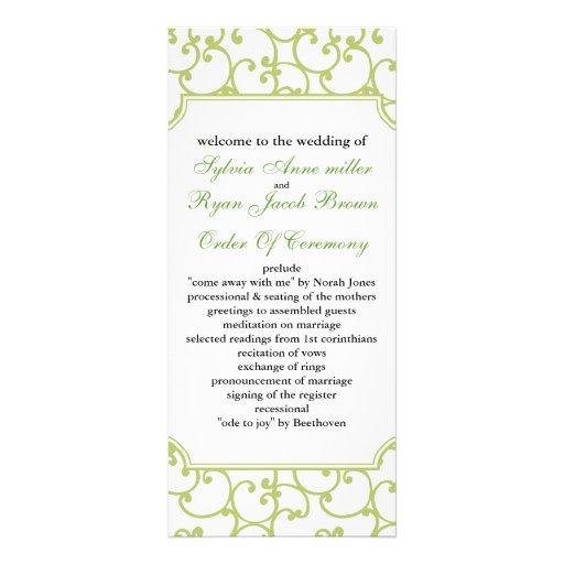 lime Wedding program Rack Cards