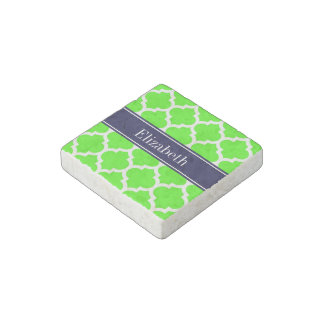 Lime White Moroccan 5 Navy Blue Name Monogram Stone Magnet