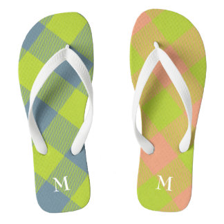 lime with pink and blue buffalo plaid mismatched thongs