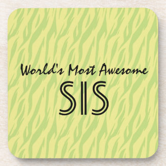 Lime Zebra World's Most Awesome Sister or Sis Coaster