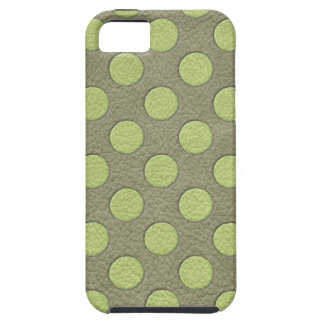 LimeGreen Polka Dots on Khaki Leather Print Case For The iPhone 5