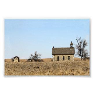 Limestone Bichet One-Room Schoolhouse, Kansas Photographic Print