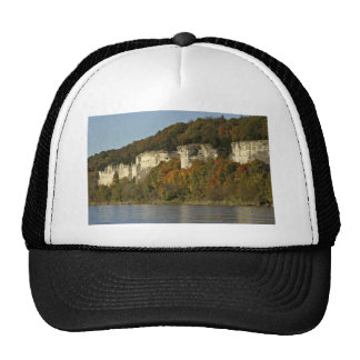 Limestone cliffs and autumn trees on the Big Muddy Trucker Hats