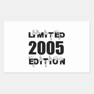LIMITED 2005 EDITION BIRTHDAY DESIGNS RECTANGULAR STICKER