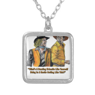 Limited Edition Blazing Saddles Art Silver Plated Necklace