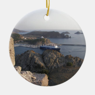 Limnos Ferry From The Hill Round Ceramic Decoration