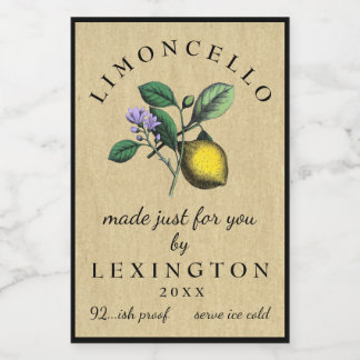 Limoncello Vintage Lemon Illustration Food Label