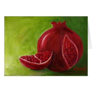 Limor's Pomegranate on Green Note Card